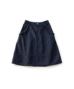 Color denim frame frill skirt