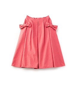 Color denim ribbon pocket skirt