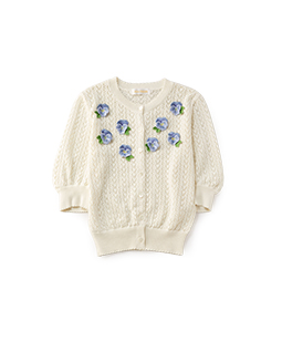 Pansy embroidery cloche cardigan