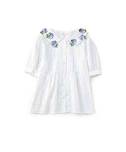 Pansy embroidery collar blouse