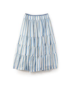 Satin stripes tiered skirt
