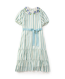 Satin stripes pansy embroidery collar dress