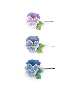 Pansy embroidery hairpin