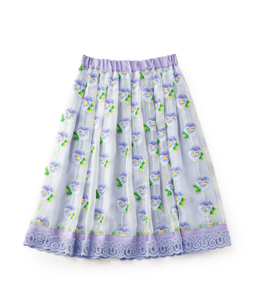 Pansy jacquard fluffy skirt