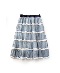 Sheer checkered tiered skirt