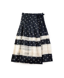 Vintage flower lace wrapped skirt