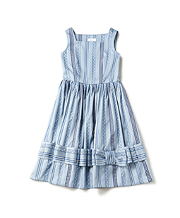 Ribbon jacquard stripe square dress
