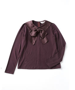 Double collar bow ribbon pullover