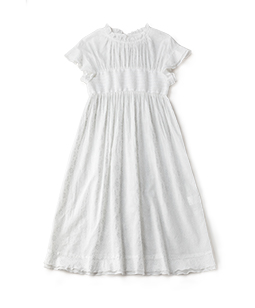 Flower lace print smocking dress