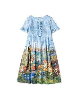 Beautiful painting front frill dress