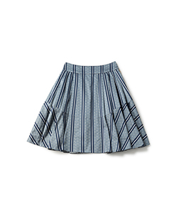 Regimental stripe fluffy skirt