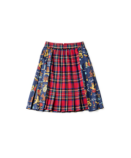 Tartan check Joyful crest pleats skirt