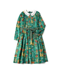 Joyful crest cloth stitch collar dress