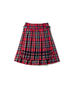 Wool tartan double pleats skirt