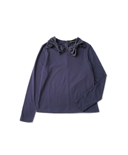 T-cloth W-ribbon collar pullover