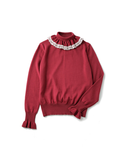 Frill collar turtle sweater