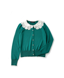 Wool lace collar cardigan