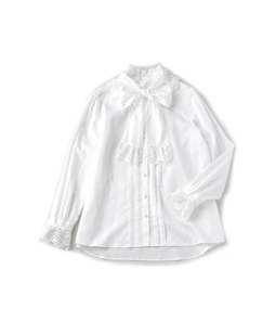 Cotton satin chemical lace blouse