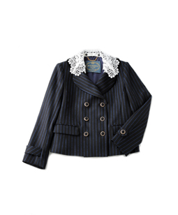British Stripes lace collar jacket