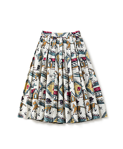 Strolling cat tuck skirt