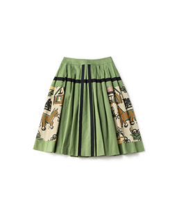 Strolling cat cloth work skirt