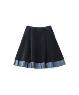 Cotton velvet and sheer taffeta skirt