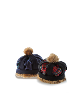 Melton tartan mini crown hat