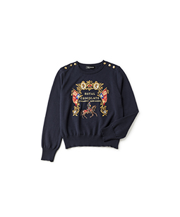 Royal chocolate EMB sweater