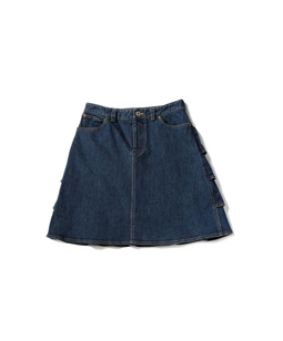 Slab denim back frill skirt