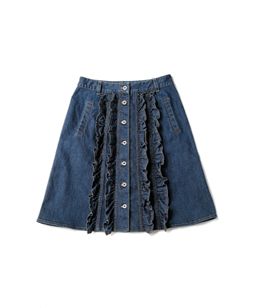 Slab denim front frill skirt
