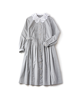 Cutwork collar dormitory dress