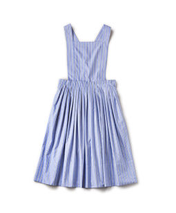 Dormitory stripe apron dress