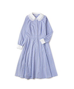 Dormitory stripe double collar dress