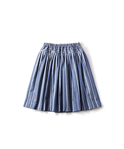Ribbon stripe jacquard and dot jacquard fluffy skirt