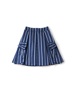 Ribbon stripe jacquard side ribbon skirt