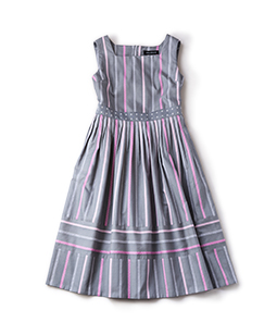 Ribbon stripe jacquard dormitory dress