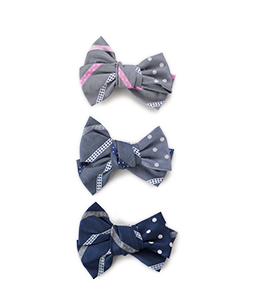 Ribbon stripe jacquard and dot jacquard hair corsage