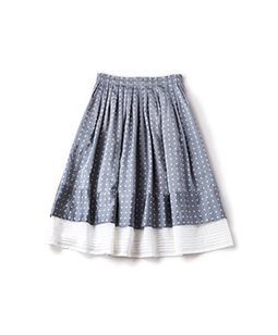 Dot jacquard organdy tuck skirt