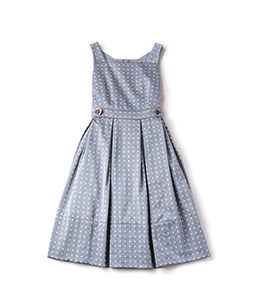 Dot jacquard back ribbon dress
