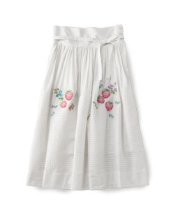 Strawberry pin tuck embroidery skirt