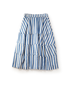 Pin tuck stripe cocoon skirt