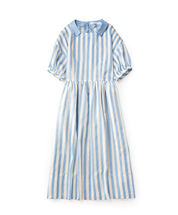 Pin tuck stripe gather dress