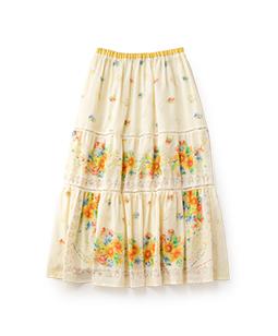 Sunflowers tiered skirt
