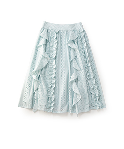 Eyelet lace gored skirt