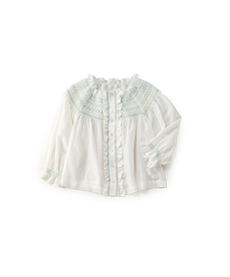 Cotton silk smocking blouse