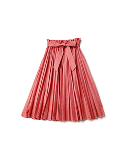 Lace trimming flare pleats skirt