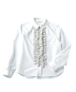 Stripe front frill shirt