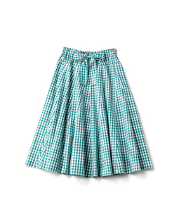 Typewriter gingham gored skirt