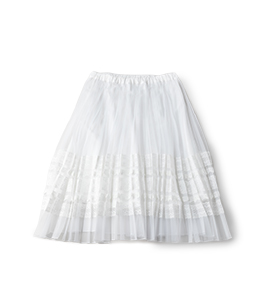 Organdy & lace flare pleats skirt