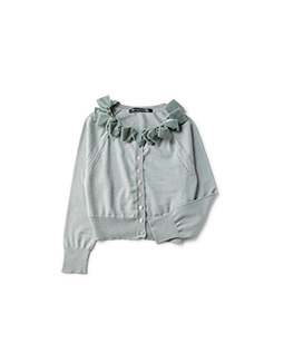 Velvet ribbon collar cardigan